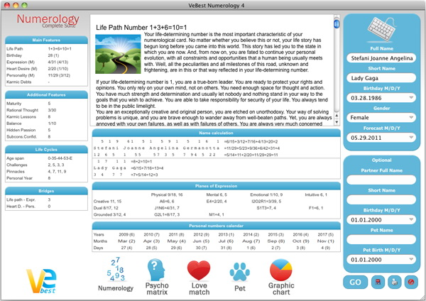 VeBest Numerology for Mac screenshot